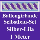 Girlande aus Luftballons, Ballongirlande Selbstbau-Set, Silber-Lila, 1 Meter