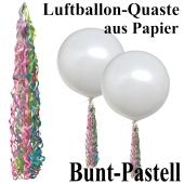 Ballonquaste aus Papier Bunte Pastellfarben