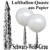 Ballonquaste aus Papier Schwarz, Weiß, Grau