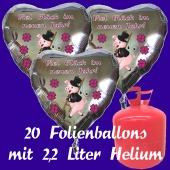Silvester Helium Einweg Set, 20 Luftballons aus Folie, Herzen, Viel Glück im neuen Jahr, Silvester