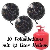 Silvester Helium Einweg Set, 20 schwarze Luftballons aus Folie, Happy New Year, Silvester