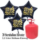 Silvester Helium Einweg Set, 20 schwarze Luftballons aus Folie, Sterne, 2020, Silvester