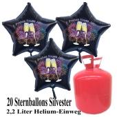 Silvester Helium Einweg Set, 20 schwarze Luftballons aus Folie, Sterne, 2021, Silvester, Frohes Neues Jahr