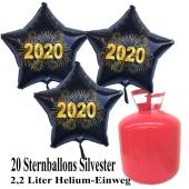 Silvester Helium Einweg Set, 20 schwarze Luftballons aus Folie, Sterne, goldene 2020, Silvester