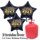 Silvester Helium Einweg Set, 20 schwarze Luftballons aus Folie, Sterne, goldene 2021, Silvester