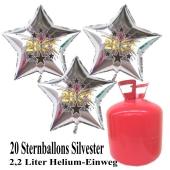 Silvester Helium Einweg Set, 20 Luftballons aus Folie, Sterne, 2021, Silvester