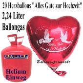 """Ballons Helium Einweg Set Hochzeit, 20 Herzluftballons """"Alles Gute zur Hochzeit"""" mit 2,24 Liter Einweg Ballongas-Helium"""