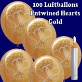 Ballons-Helium-Maxi-Set-100-goldene-Luftballons-Verschlungene-Herzen-zur-Hochzeit