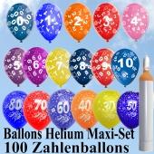 Ballons Helium Maxi-Set, 100 Luftballons mit Zahlen, 10 Liter Ballongas und Zubehör