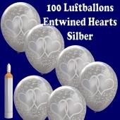 Ballons-Helium-Maxi-Set-100-silberne-Luftballons-Verschlungene-Herzen-zur-Hochzeit