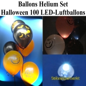 Ballons Helium Maxi Set Halloween Party, 100 LED Leucht-Luftballons mit Helium-Ballongas