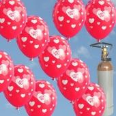 Wahre Liebe, Ballons Helium Set, 50 rote Rund-Luftballons I Love You mit Helium-Mehrweg