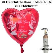 """Ballons Helium Midi Set, 30 rote Herzluftballons """"Alles Gute zur Hochzeit"""" 3 Liter Ballongas in der Mehrwegflasche"""