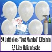 Luftballons zur Hochzeit steigen lassen, 50 Luftballons Just Married, elfenbein, mit der 3,5 Liter Ballongas-Heliumflasche