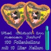 Ballons und Helium Set Silvester, 100 Herzballons: Viel Glück im neuen Jahr!