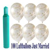 Ballons-Helium-Set-100-Luftballons-Just-Married-und-10-Liter-Helium-Ballongasflasche-zur-Hochzeit
