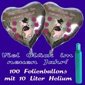 Ballons und Helium Set Silvester, 100 silberne Herzballons: Viel Glück im neuen Jahr!