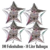Ballons und Helium Set Silvester, 100 silberne Sternballons: 2020