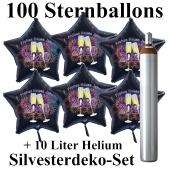Ballons und Helium Set Silvester, 100 Sternballons 2020 - Champagner und Feuerwerk