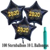 Ballons und Helium Set Silvester, 100 Sternballons 2020 - Feuerwerk