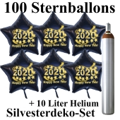 Ballons und Helium Set Silvester, 100 Sternballons 2020 - Happy New Year