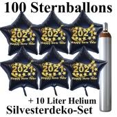 Ballons und Helium Set Silvester, 100 Sternballons 2021 - Happy New Year