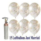 Ballons-Helium-Set-15-Luftballons-Just-Married-und-Helium-Ballongasflasche-zur-Hochzeit