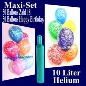 Ballons Helium Set zum 18. Geburtstag, 50 Luftballons Zahl 18 und 50 Luftballons Happy Birthday, 10 Liter Helium-Ballongas