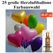Ballons Helium Set Midi, 25 große 40-45 cm Herzluftballons mit Farbauswahl