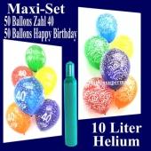 Ballons Helium Set zum 40. Geburtstag, 50 Luftballons Zahl 40 und 50 Luftballons Happy Birthday, 10 Liter Helium-Ballongas