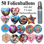 Folienballon-Midi-Set-1, 50 Luftballons aus Folie mit der 5 Liter Ballongasflasche