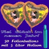 Ballons und Helium Set Silvester, 50 Herzballons: Viel Glück im neuen Jahr!