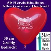 Luftballons Helium Set, 50 rote Herzluftballons 30 cm, Alles Gute zur Hochzeit, 3 Liter Ballongasflasche