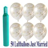 Ballons-Helium-Set-50-Luftballons-Just-Married-und-Helium-Ballongasflasche-zur-Hochzeit