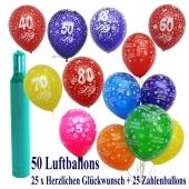 Ballons-Helium-Set-50-Luftballons-mit-Heliumflasche-25-Zahlenballons-25-Herzlichen-Glueckwunsch-Ballons