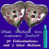 Ballons und Helium Set Silvester, 50 silberne Herzballons: Viel Glück im neuen Jahr!