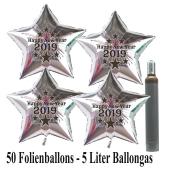 Ballons und Helium Set Silvester, 50 silberne Sternballons: 2019