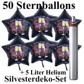 Ballons und Helium Set Silvester, 50 Sternballons 2020 - Champagner und Feuerwerk