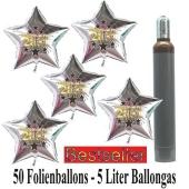 Ballons und Helium Set Silvester, 50 silberne Sternballons: 2021