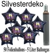 Ballons und Helium Set Silvester, 50 Sternballons 2021 - Champagner und Feuerwerk