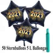 Ballons und Helium Set Silvester, 50 Sternballons 2021 - Feuerwerk