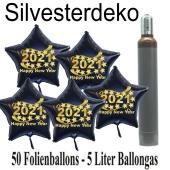 Ballons und Helium Set Silvester, 50 Sternballons 2021 - Happy New Year