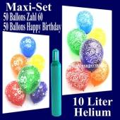 Ballons Helium Set zum 60. Geburtstag, 50 Luftballons Zahl 60 und 50 Luftballons Happy Birthday, 10 Liter Helium-Ballongas