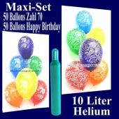 Ballons Helium Set zum 70. Geburtstag, 50 Luftballons Zahl 70 und 50 Luftballons Happy Birthday, 10 Liter Helium-Ballongas