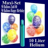 Ballons Helium Set zum 80. Geburtstag, 50 Luftballons Zahl 80 und 50 Luftballons Happy Birthday, 10 Liter Helium-Ballongas