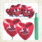 Ballons und Helium Set Hochzeit, 100 Luftballons Alles Gute zur Hochzeit mit der 10 Liter Ballongasflasche
