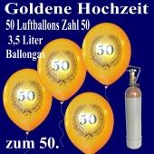 Ballons Helium Set 50 goldene Luftballons Zahl 50 im Lorbeerkranz, 3,5 Liter Ballongas, zur Goldenen Hochzeit
