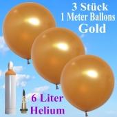 Ballons Helium Set Hochzeit, 3 Riesenballons Gold Metallic, 1 Meter, mit Helium-Ballongas