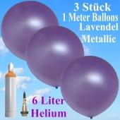 Ballons Helium Set Hochzeit, 3 Riesenballons Lavendel Metallic, 1 Meter, mit Helium-Ballongas