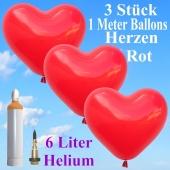 Ballons Helium Set Hochzeit, 3 rote Herzballons, 1 Meter, mit Helium-Ballongas